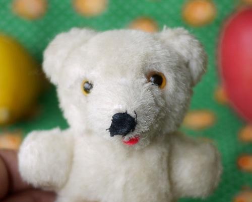 小熊のぬいぐるみ ドイツ 極小白熊 ヴィンテージ テディベア 愛されすぎたぬいぐるみ