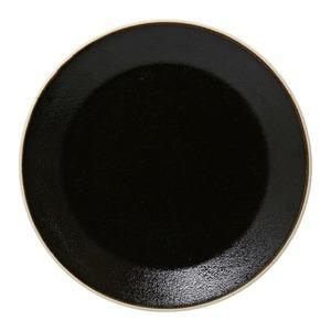益子焼 つかもと窯 「伝統釉」 フラット プレート 皿 L 約25cm ゆず肌黒 TH-2