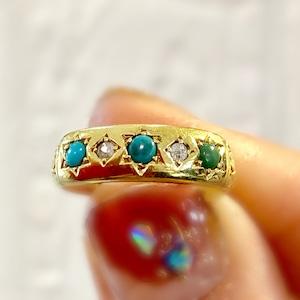 1851年 イギリス ヴィクトリアン アンティークリング 18金 ターコイズ ダイヤモンド