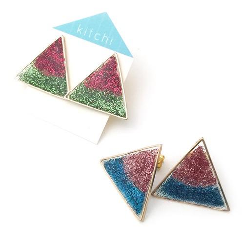 kitchi 少し大きめバイカラー三角ピアス