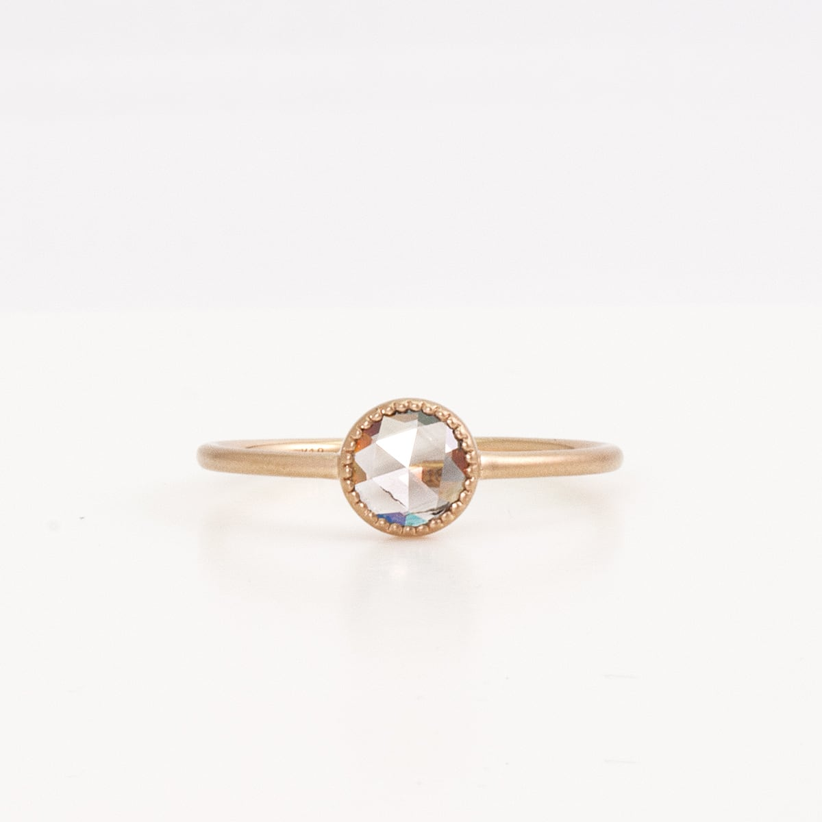 Rosecut diamond ring / Round milgrain