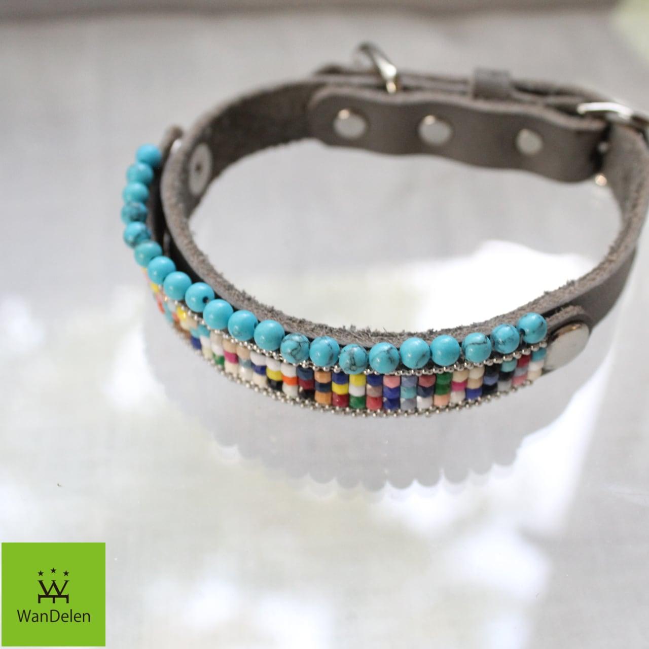 """"""" WanDelen"""" Dog Necklace (mosaic turqoize)"""