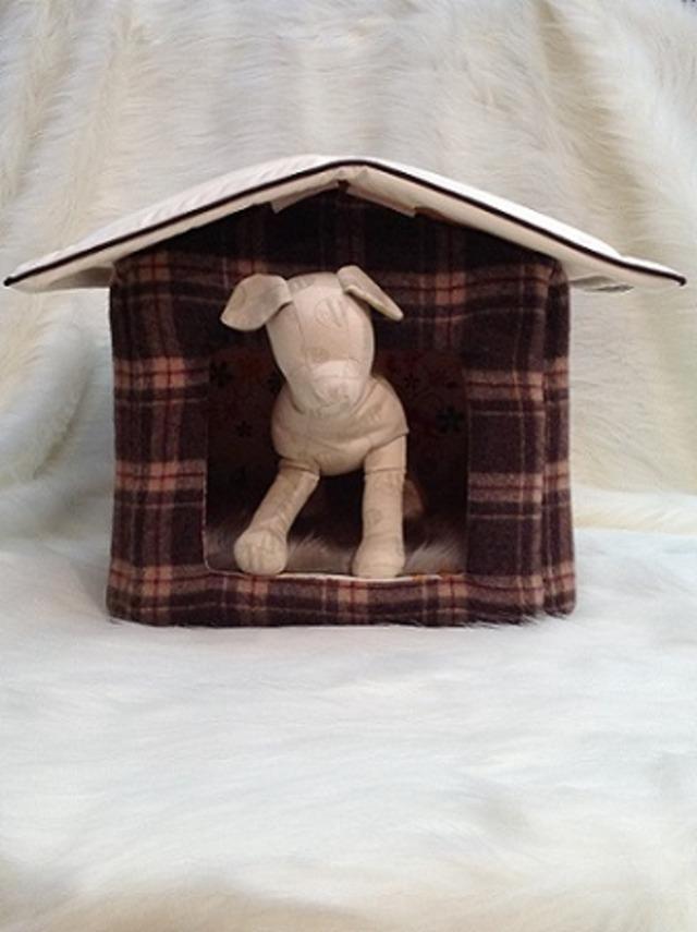 犬の生活ハウス ブラウンチェック×フラワープリント