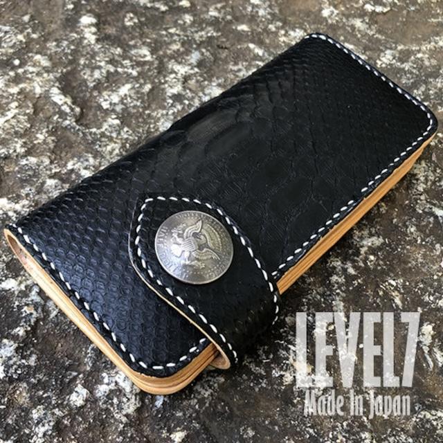 LW002-RPYBK 長財布/ロングウォレット バックカット マットブラック ダイヤモンドパイソン本革 手縫い イタリアンレザー ハンドメイド 日本製 LEVEL7
