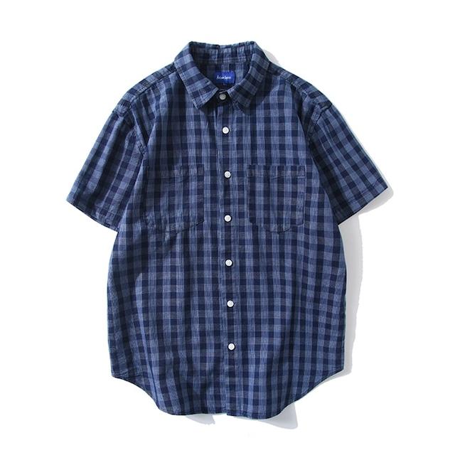 【UNISEX】シンプル チェック ショートスリーブ シャツ UN-589