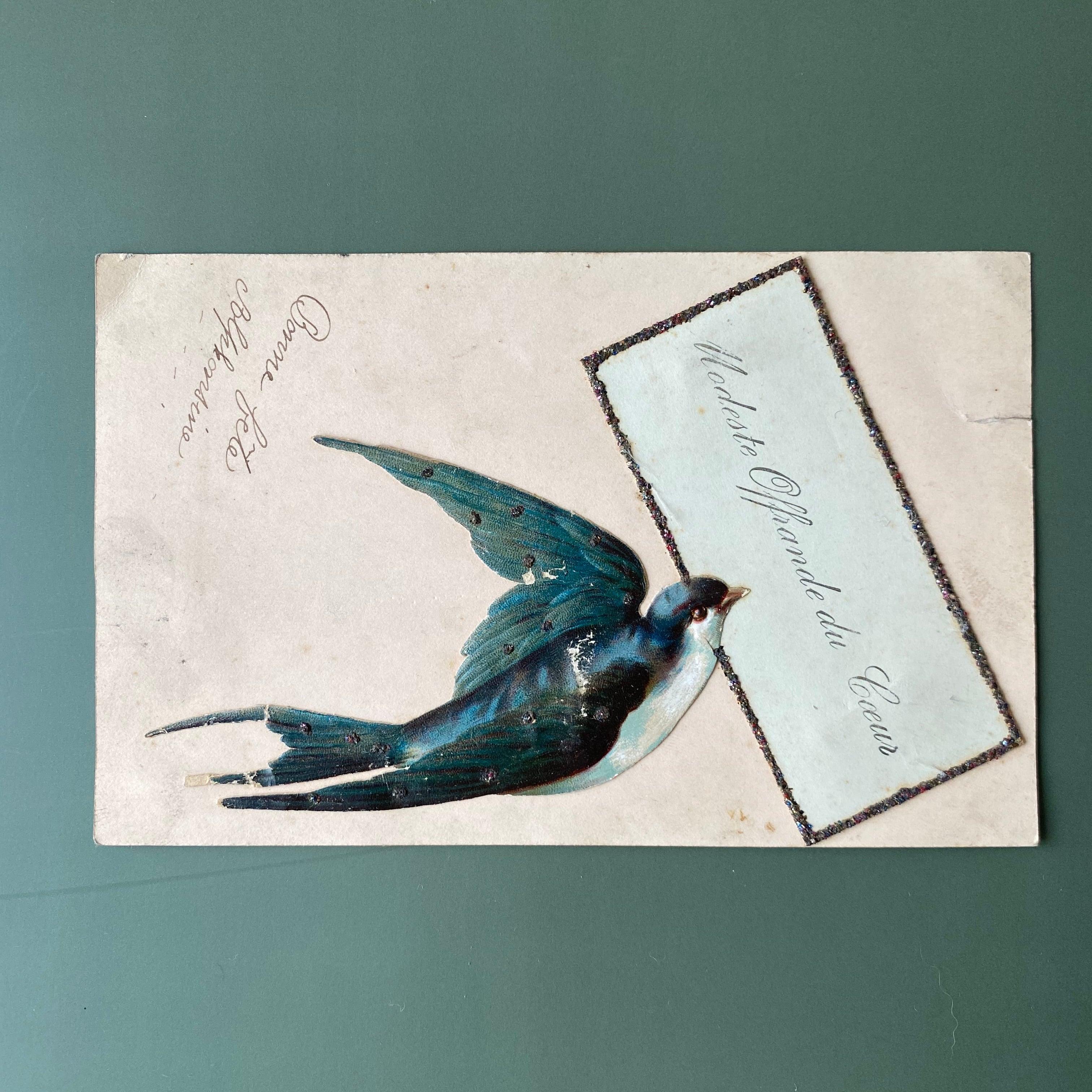 アンティーク ツバメのポストカード  /  vp0197