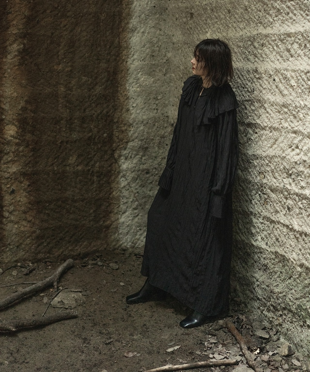 WASHER SATIN DRESS(BLACK)
