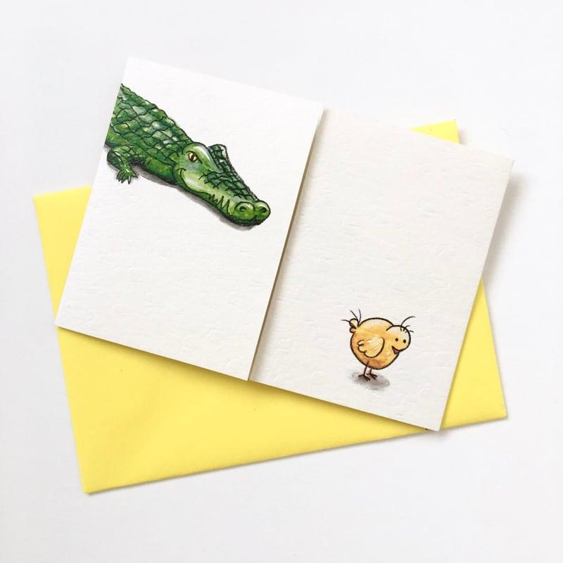 フラップカード「ワニとひよこ」