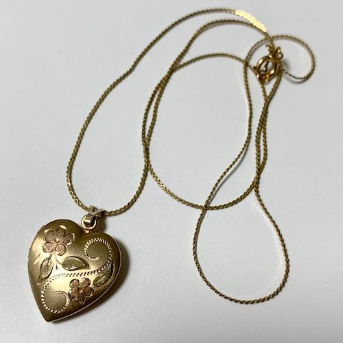 Vintage Floral Engraved Gold Filled Rocket pendant