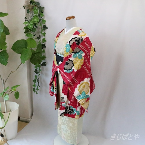 正絹綸子 苺色の長羽織 アンティーク