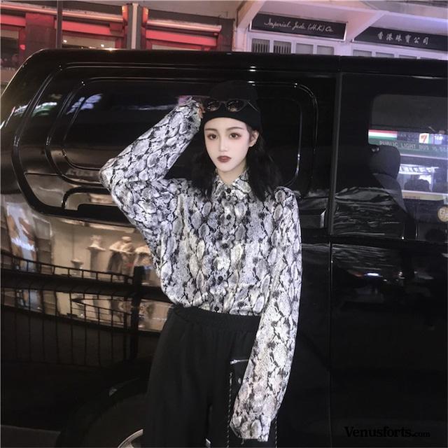 【トップス】ストリート花纹カジュアルシャツ43010089