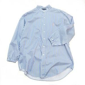 【USED】リメイク ラルフローレン バンドカラーシャツ 太ストライプ L