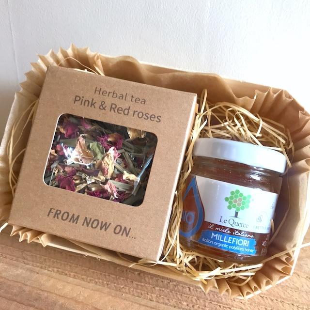 """"""" FNO herbal tea & honey BIO Gift Set / ハーブティー & BIOはちみつ ギフトセット(ポプラの木の焼型入)"""""""