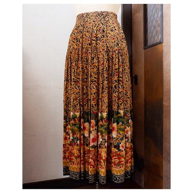 アメリカ古着 USA製 ボタニカル柄 レーヨン ロングスカート
