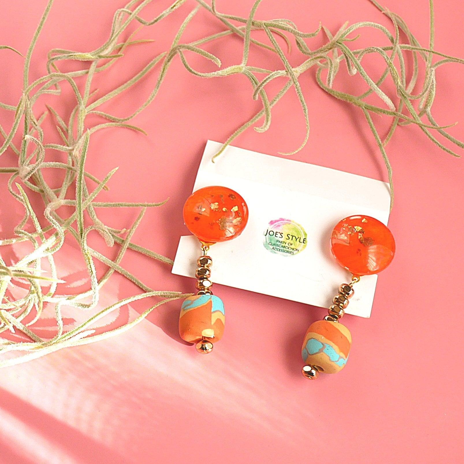 """ Earrings NO.0-1950″オレンジとクレイビーズ"