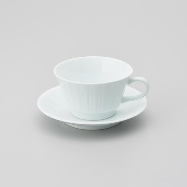【中仙窯】白磁線彫りスープ碗皿(220㏄)(日本工芸会正会員 中尾 純作)