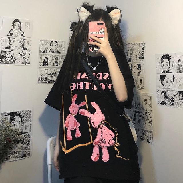 【トップス】恐怖暗黒系半袖プリントストリート系Tシャツ46428121