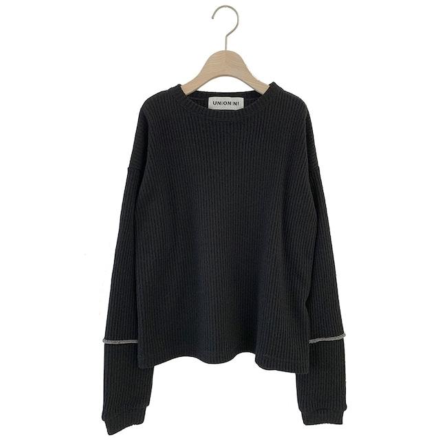 UNIONINI long sleeved rib knit pullover 4-6/6-8/8-10/10-12 (black)