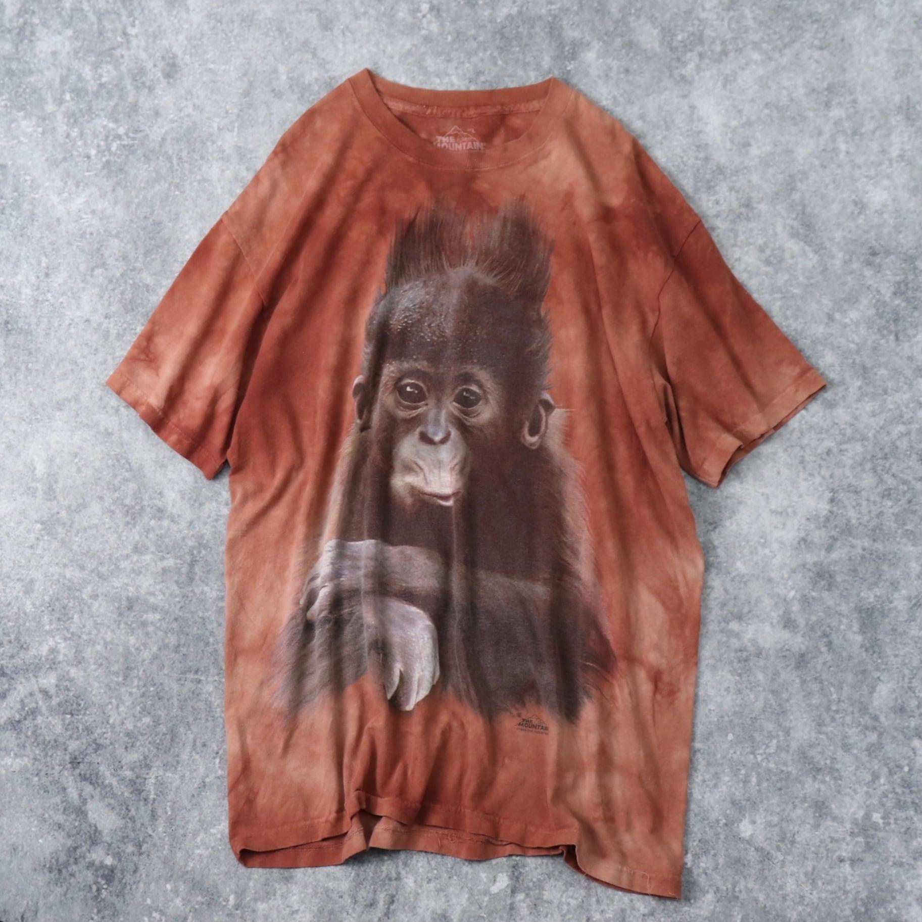 """90年代 USA製 """" THE MOUNTAIN """" アニマルTシャツ チンパンジー L 古着 A58"""