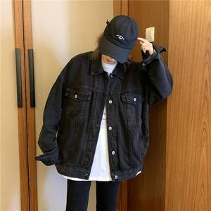 秋春 デニムジャケット 黒 レディース デニムコート  Gジャン 長袖 ジージャン BF風 大きいサイズ 原宿系 ヴィンテージ レトロ  9636