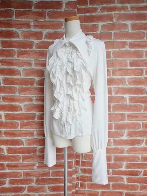三角襟の背面編み上げフリルシャツ 白