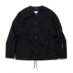 【BURNER×THE STRAIT】ポプリンノーカラーリフレクターシャツブルゾン #BLACK