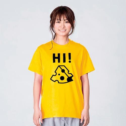 ハイ!チーズ Tシャツ レディース おしゃれ イエロー 夏 大きいサイズ 綿100% 160 S M L XL