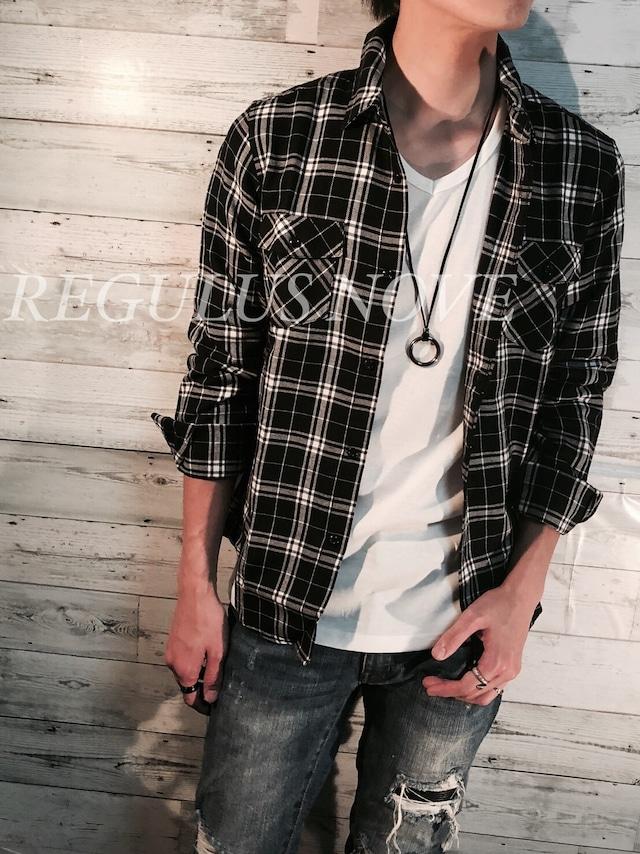 REGULUS NOVE マルチカラープレーンチェックシャツ BLACK   メンズ レディース ユニセックス 春物 夏物 長袖 大人 シンプル レイヤード