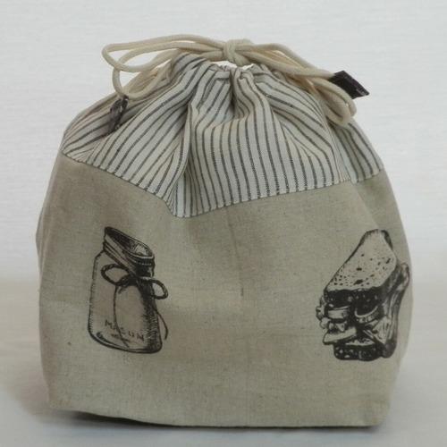 巾着袋/サンドイッチとパンの巾着袋 (5-201)