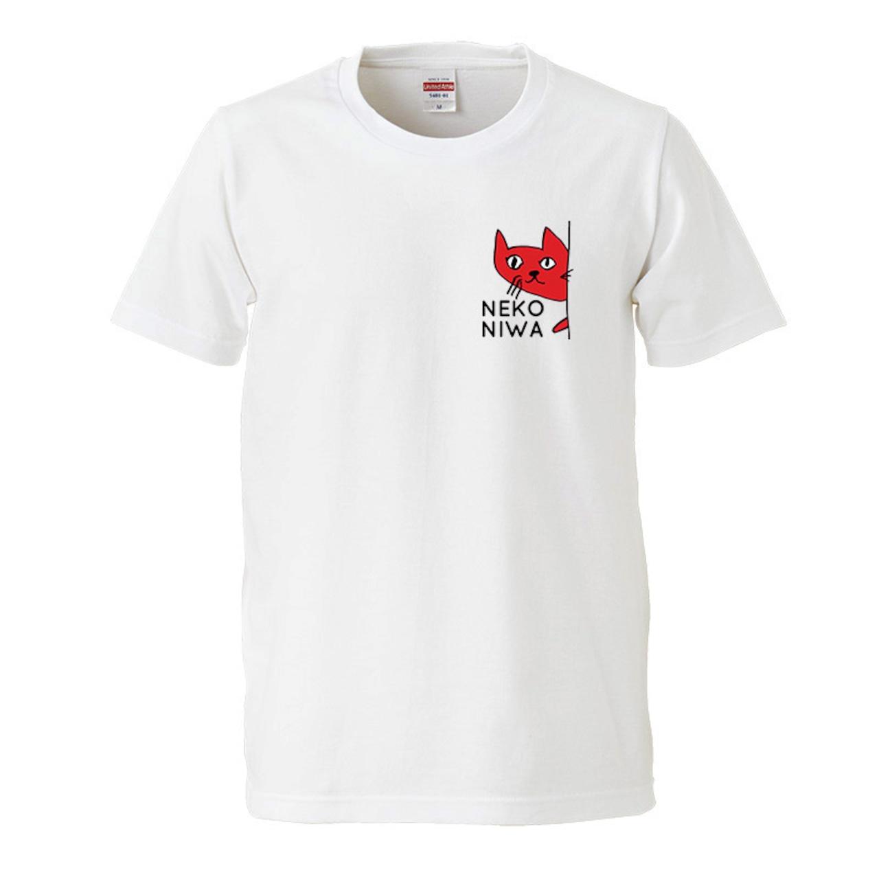 【猫庭Tシャツ】レッド:ワンポイント 全国送料無料!!