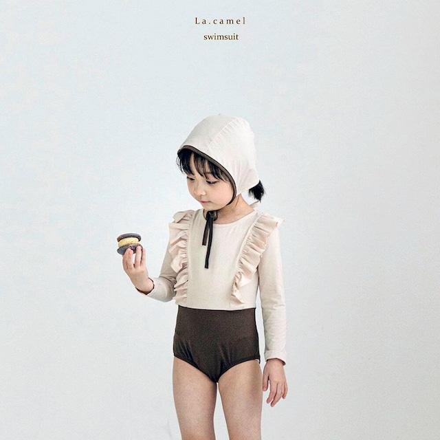 «sold out» La camel frill leo Swimsuit  フリルレオ水着