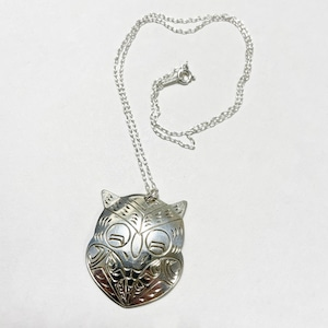 First Nations Hand Carved Sterling Pendant Necklace By Vincent Henson (Owl Motif)