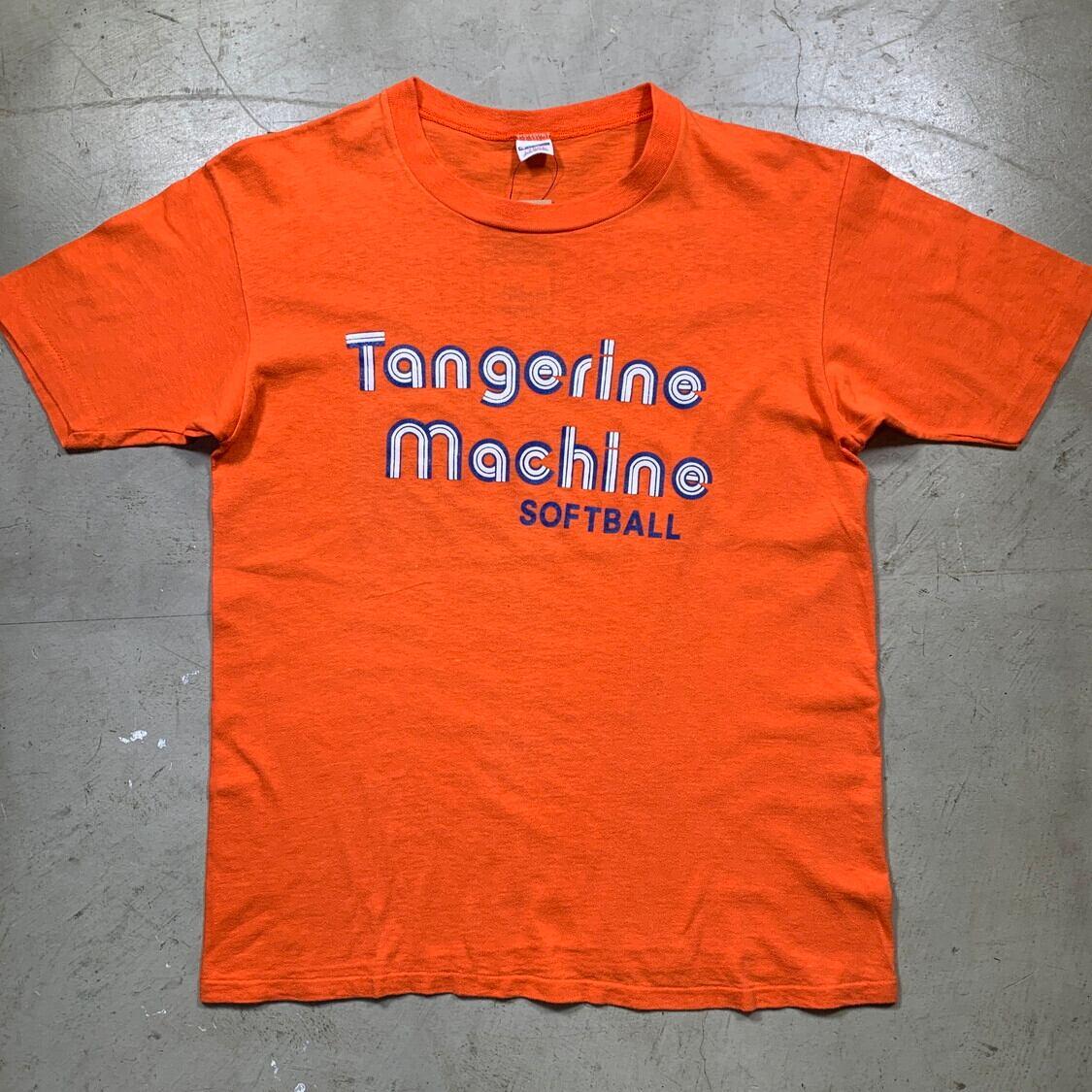 70's 80's Champion チャンピオン プリントTシャツ Tangerine Machine SOFT BALL  バータグ後期 オレンジ LARGE 希少 ヴィンテージ BA-1521 RM1940H