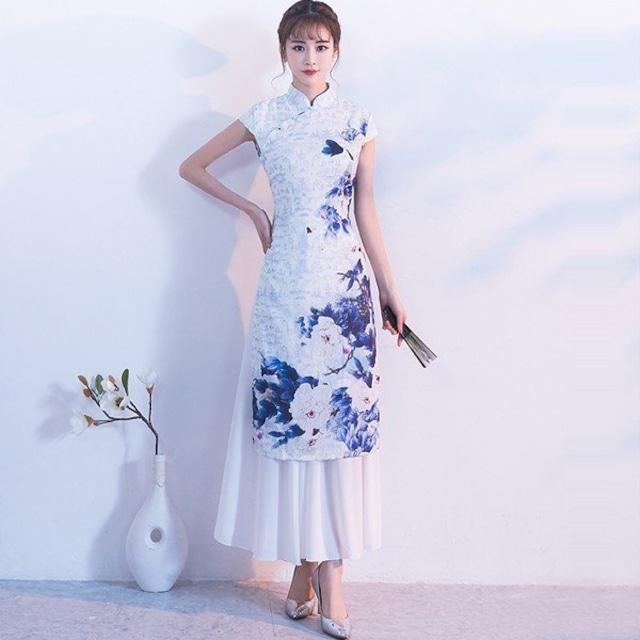 アオザイ ベトナム エスニック風 美ライン 花柄 リゾート 母の日 ブルー 大きいサイズ M L LL 3L