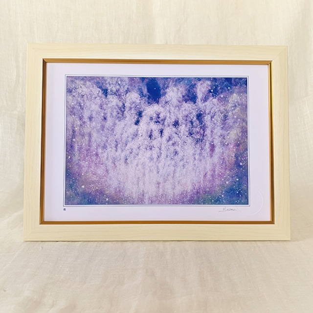 風水画 ヒーリングアート 藤の花 「癒し」A4額