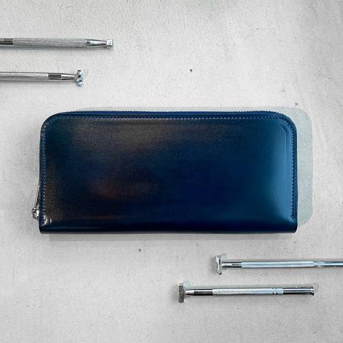 コードバン長財布ラウンドジップ(ブルー)