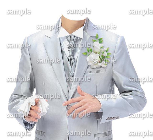 男性ウェディングシルバースーツ正面