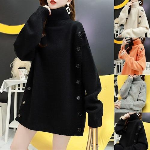 ボタンデザイン ニット セーター ハイネック 厚手 オーバーサイズ 韓国ファッション レディース トップス プルオーバー ロング ルーズ 長袖 ゆったり 大人可愛い ガーリー DTC-610331885707