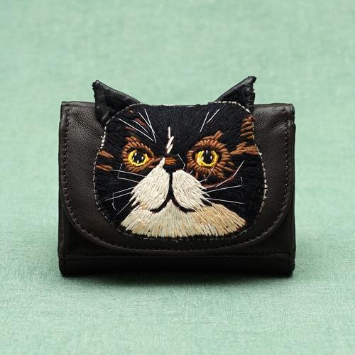 ねこミニ財布 black cat/DARK BROWN