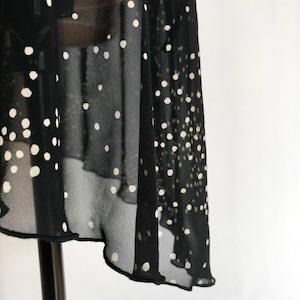 "◇""Tatiana"" Ballet Wrap Skirt  -   Snowflake Dots [Sheer]( スノウフレイク・ドット(黒×オフ白)[シアー])"