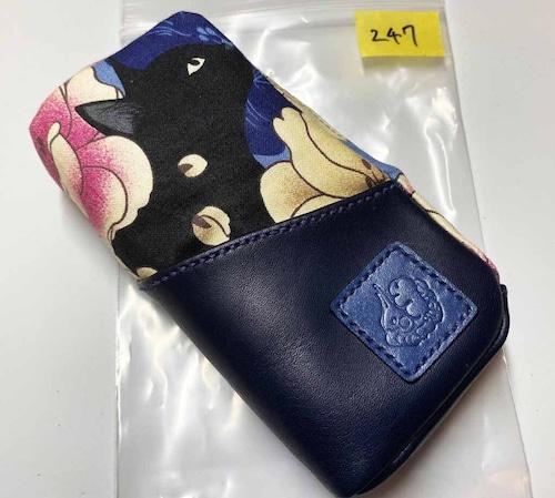 黒猫と革のL字ファスナーポーチ(青x紺) [247-pt]