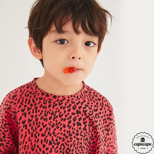 «即納» leopard cut and sew 2colors レオパードカットソー