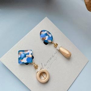 """ Earrings NO.danoan-121″ドットペイントとヘマタイトアシメ"