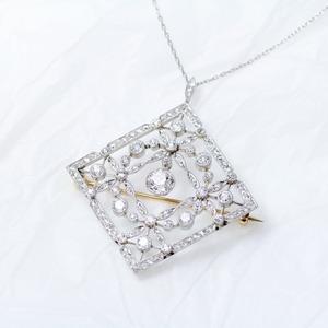 Lozenge-shaped Diamond & Platinum Pendant / Brooch