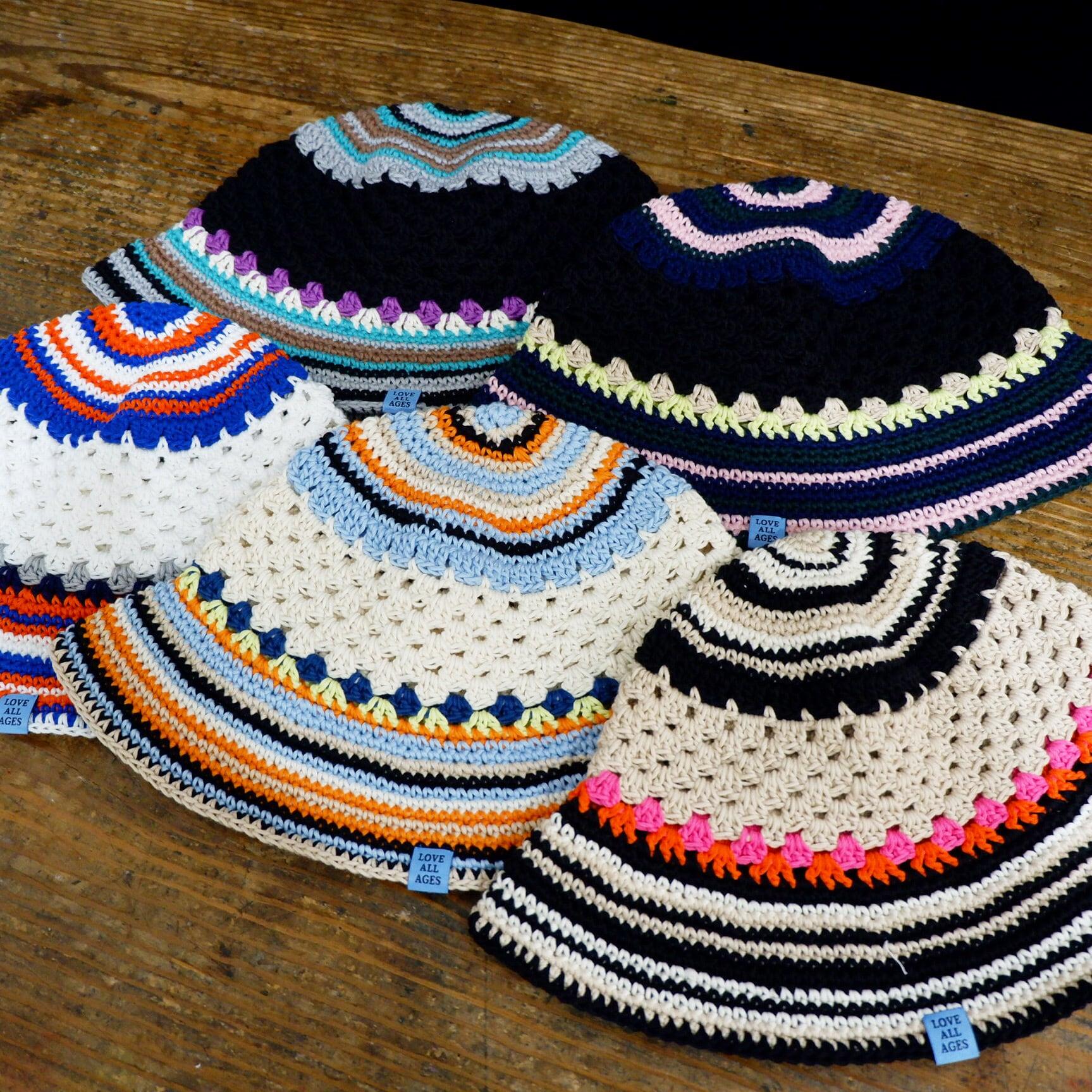 【Antage】Handmade Border Crochet Hat