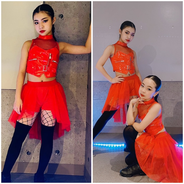 【Yuma×dance】 120~160cm 2カラー★ セットアイテム Jazz HIPHOP ダンス着 レッスン着 クール ブラックコーデ シースルー 異素材