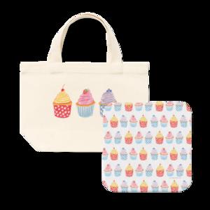 ミニトートバッグ&タオルハンカチセット(Cupcakes)