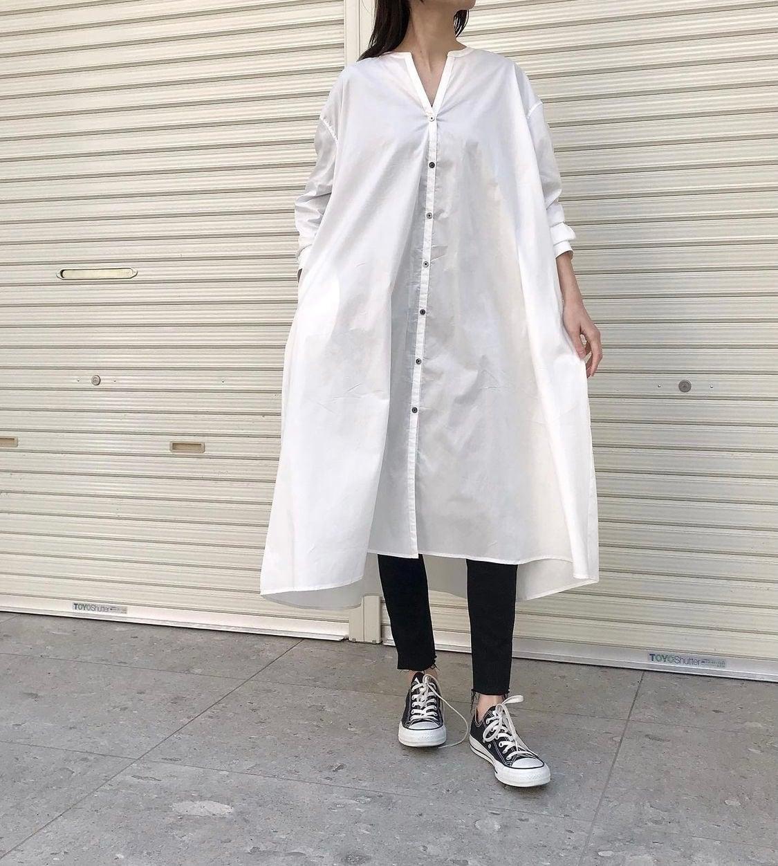 【 siro de labonte 】- R143301 - STRETCH BROAD CLOTH シャツワンピース