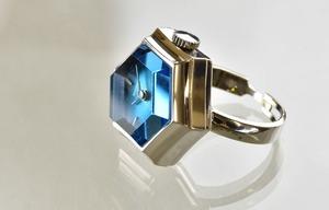 【ビンテージ時計】1978年7月製造 セイコー指輪時計 ブルーカットガラスが綺麗な6角フェイス