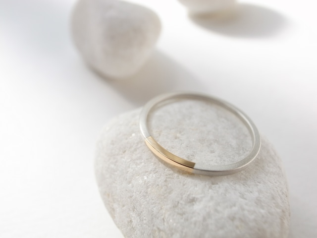 K18YG×silver950/ratio thin ring